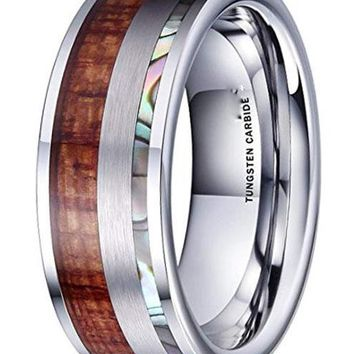 CERTIFIED 8MM Nature Abalone Shell & Wood Inlay with Brushed Tungsten Carbide