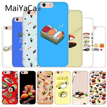 MaiYaCa Japanese sushi Kawai Food Soft Silicone TPU cell Case For iphone X 8 8plus Transparent Case cover And 7 7plus 6 6s
