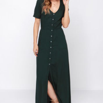 Obey Jane Street Forest Green Maxi Dress