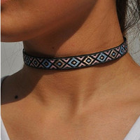 Womens Leather Style Boho Choker Festival Necklace Four Color Choices