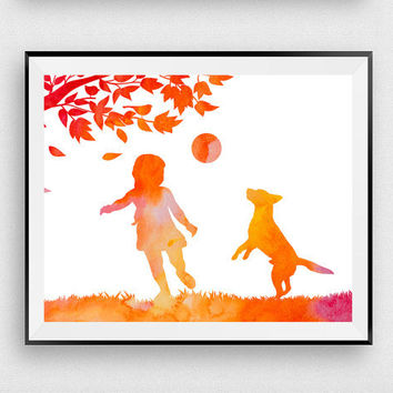 Dog print, Woodland nursery, Girl with dog, Orange watercolor, Poster art, Girls room decor, Dog lovers, Digital print, Baby shower gift