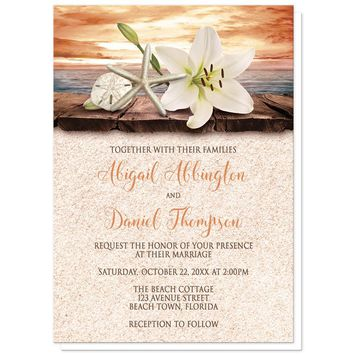 Wedding Invitations - Lily Seashells Sand Autumn Beach