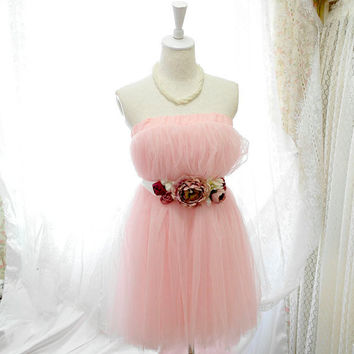 Sweetheart Dreamy ballerina baby pink  tutu tulle puff skirt /dress 2 way