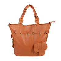 Romantic Trip Tan Leatherette Satchel Bag Handbag Purse Shoulder Bag Tote Bag w/Tassels