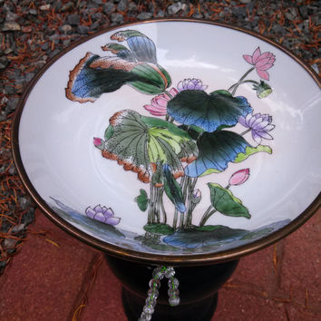 Bird bath/feeder, blue ceramic lamp body, cut glass plate with gold trimmed floral bowl