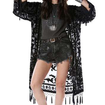 Gypsetter Brocade Velvet Burnout Beaded Fringe Tassel Kimono