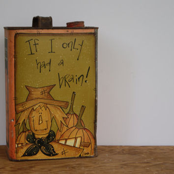 Fall Decor ~ Antique Hercules Turpentine Can ~ Scarecrow and Pumpkins Fall Decor ~ Country Home Fall Decor ~ If I Only Had A Brain!
