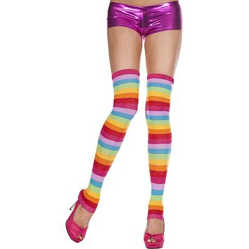 Rainbow Striped Footless Leg Warmer Thigh High