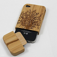 iphone 4 case, iphone 4s case, real wood bamboo made gumtree iphone 4 4s case covers