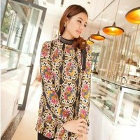 Vintage Style Turtle Neck Floral Or Clock Print Long Chiffon Blouse
