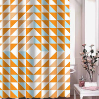 orange triangles shower curtain adorabel batheroom hane made