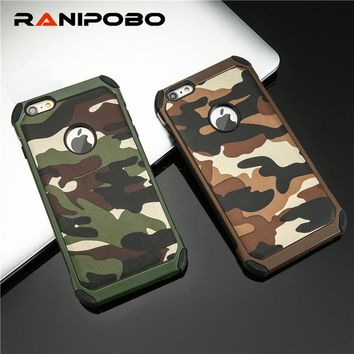 Armor protective PC Hard + Soft TPU phone cases for iPhone 4 4S 5 5S 6 6S 7 plus Camouflage Army Camo Pattern case back cover