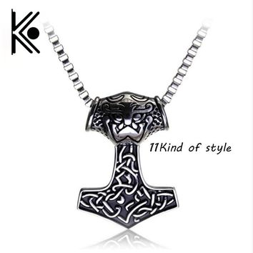 11 style Supernatural Thor's Hammer  Thor Chain Male Men Pendant Jewelry Wicca Charm Loki necklace avengers  vikings jewelry