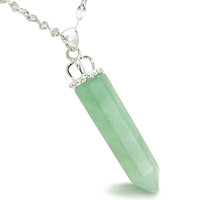 Amulet Crown Bail Green Quartz Crystal Point Good Luck Pendant 18 Inch Necklace