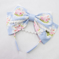 Lolita Hair Bow Headband Baby Blue Polka Dot Bouquet Floral White Lace Pearl Beaded