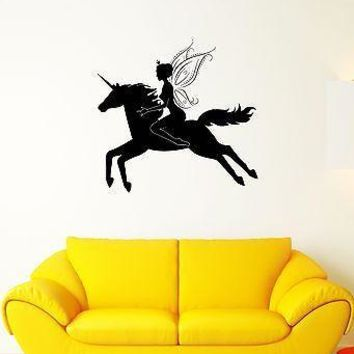 Wall Decal Unicorn Princess Wings Fairy Flight Girl Mural Vinyl Stickers Unique Gift (ed016)