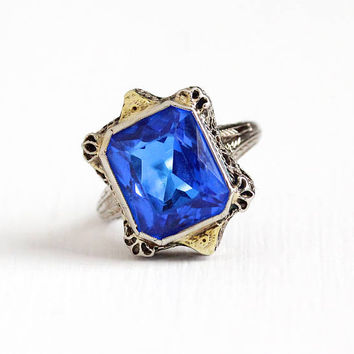 Vintage 14k White & Yellow Gold Created Blue Spinel Flower Filigree Ring - 1920s Size 5 1/2 Art Deco Two Tone Cobalt Stone Fine Jewelry