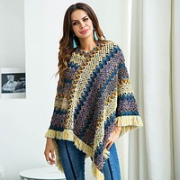 Tassel Poncho Pullover Knit Sweater
