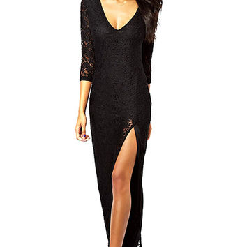 Lace 3/4 Sleeve Side Slit Maxi Dress
