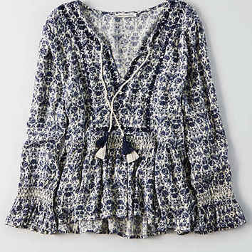 AEO Smocked Peplum Top , Blue