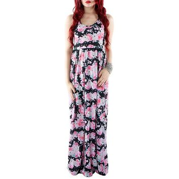 "Women's ""Buns 'N Roses"" Maxi Dress by Iron Fist (Black)"