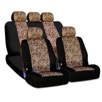 New and Unique YupbizAuto brand Safari Cheetah Print Universal Size Car Truck SUV Seat Covers Set High Quality Velour and Mesh Material Gift Set Smart Pocket Feature