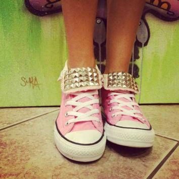 DCCK8NT custom studded light pink converse all star high tops chuck taylors all sizes col