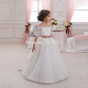 2016 New Hot White Ivory Lace Flower Girls Dresses With Belt Floor Length Princess Baby First Communion Dress For Wedding