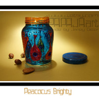 Peacocus Brighty - Hand Painted Storage Jar, Nut Canister, Colourful Container, Art on Glass