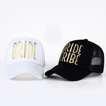Trendy Winter Jacket BRIDE TRIBE Gold Print Mesh Women Wedding Baseball Cap Party Hat Brand Bachelor Club Team Snapback Caps Summer Beach Casquette AT_92_12