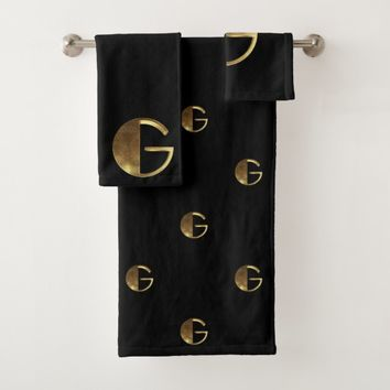 Monogram G Black and Gold Look Elegant Typography Bath Towel Set