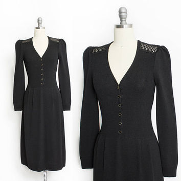 Vintage 1970s Dress - Black Wool Knit Shirtwaist Designer ST. JOHN - Small