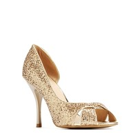 Gold Sequin Open Toe Heels