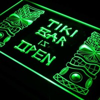 i573 Tiki Bar is OPEN Mask Display NR LED Neon Light Sign On/Off Switch 7 Colors 4 Sizes