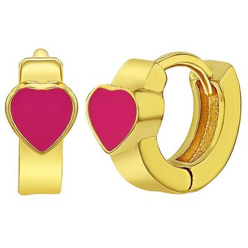 18k Gold Plated Hot Pink Enamel Heart Huggie Hoop Infants Girls Earrings 8mm