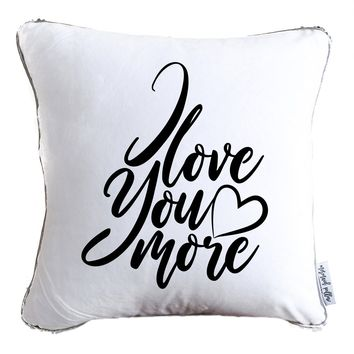 I Love You More Calligraphy Decorative Throw Velvet Pillow w/ Silver & White Reversible Sequins