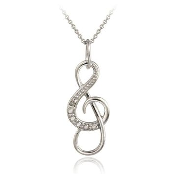 Sterling Silver Diamond Accent Musical Note Necklace, 3 Colors