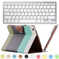 iPad Air Keyboard Case,ULAK 360 Degree Rotating Premium PU Leather Folio Stand Flip Cover Samrt Case with Wireless Bluetooth Keyboard Stylus and Screen Protector for iPad Air 5 (5th Generation) Auto Wake/Sleep Smart Cover Function Stay