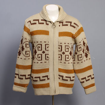 60s PENDLETON Big LEBOWSKI SWEATER / The Dude Wool Cowichan Cardigan, M