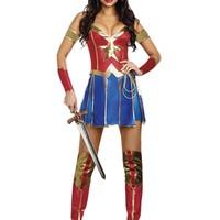 Adult Women Sexy Wonder Woman 2 Superhero Halloween Costume 4pc Dress