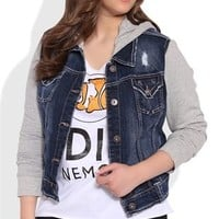 Plus Size Denim Jacket with Knit Sleeves and Hood