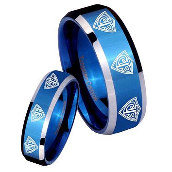 His Hers Multiple CTR Beveled Edges Blue 2 Tone Tungsten Wedding Band Mens Set
