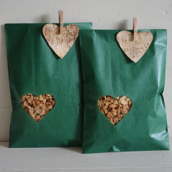 Green Kraft paper bag with a small off center heart window set of 20 kraft bags and 20 cellophane bags --- Wedding favor or party bags