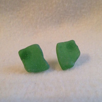 Green Sea Glass stud ceramic earrings on Silver plated surgical steel hypoallergenic SeaGlass found on the beach of Greece