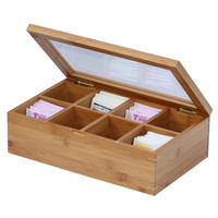 Oceanstar 100% Bamboo Tea Box - Tan
