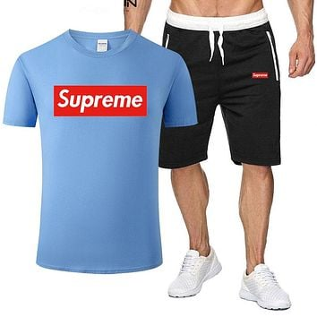 Supreme Tide brand men and women short-sleeved sports suit two-piece Blue