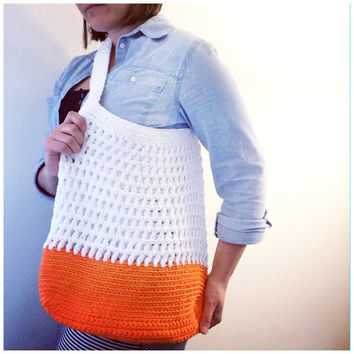 Summer Tote Bag Crochet Market Bag Beach Bag Messenger Bag Color Block Womens Accessories Cotton Summer Spring Fashion White Neon Orange