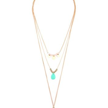 Leaf Multi Pendent Three Layer Necklace