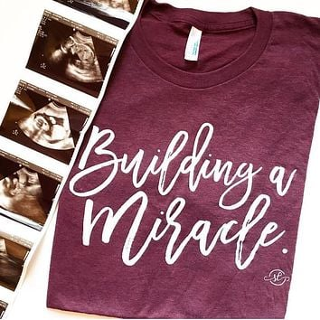 Building A Miracle Maternity Tee - Maroon