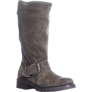 FRYE Samantha Zip Tall Motorcycle Boots, Forest, 6.5 US, Forest, 6.5 US